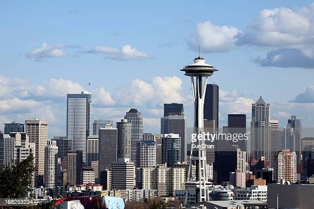 The tall buildings of the city of Seattle