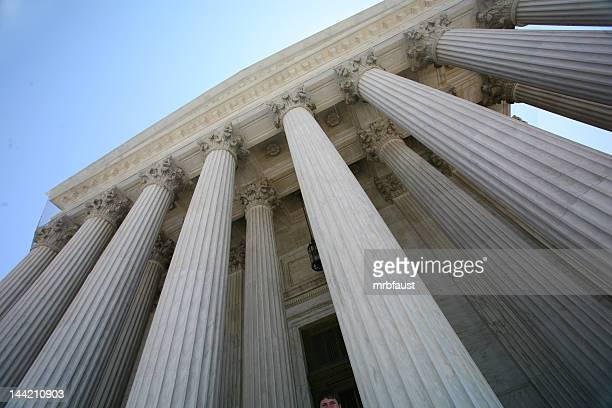 The tall pillars of the US Supreme Court building