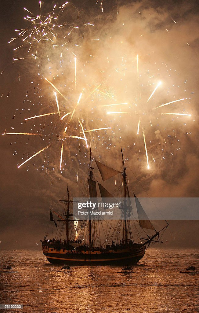 The Tall Ship Grand Turk, playing the part of Admiral Nelson's flagship HMS Victory, is lit up by a firework display during a re-enactment of the Battle of Trafalgar on June 28, 2005 in Portsmouth, England. The Trafalgar 200 celebrations mark the 200th anniversary of the Battle of Trafalgar at which Lord Nelson commanded the Royal Navy in a famous victory over the French.