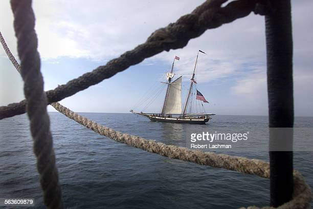 The tall ship Lynx is photographed from the ship Hawaii Chieftain during a hands–on program where local students learn about sailing in the 18th...