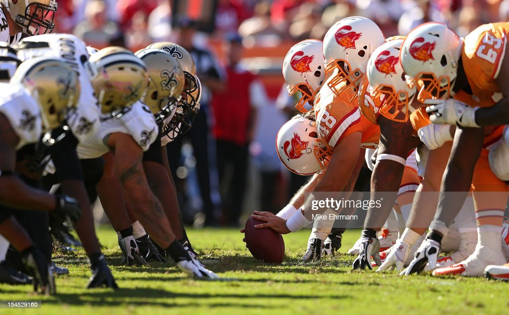 The Tampa Bay Buccaneers and New Orleans Saints line up during a game at Raymond James Stadium on October 21, 2012 in Tampa, Florida.