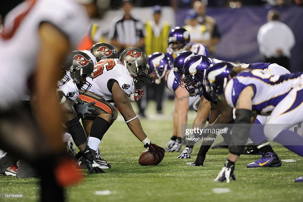 The Tampa Bay Buccaneers offense lines up against the Minnesota Vikings defense during the third quarter of the game on October 25, 2012 at Mall of America Field at the Hubert H. Humphrey Metrodome in Minneapolis, Minnesota. The Buccaneers defeated the Vikings 36-17.