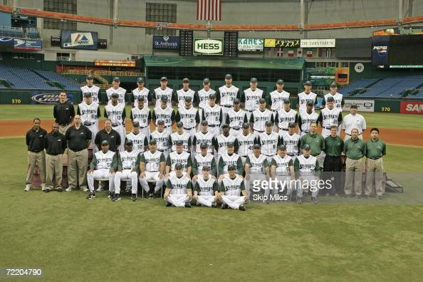The Tampa Bay Devil Rays pose for the 2006 team photo at Tropicana Field in Tampa Bay Florida on May 18 2006