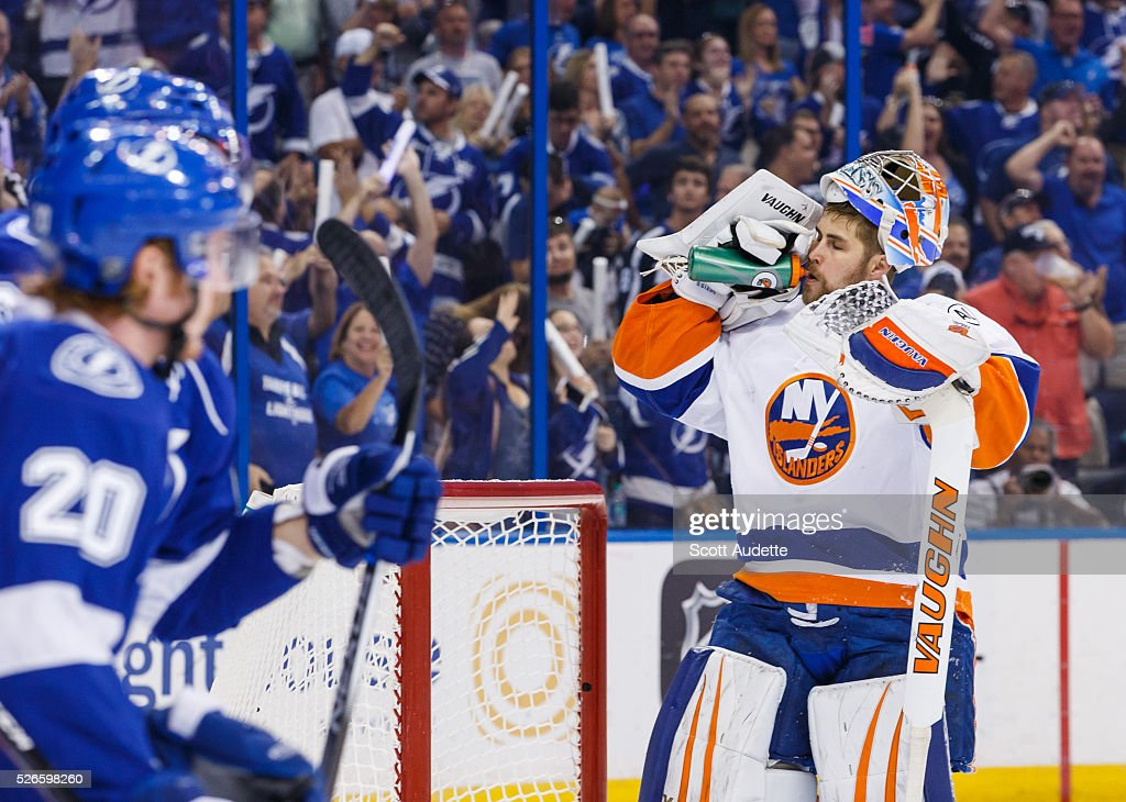 The Tampa Bay Lightning celebrate a goal against goalie <a gi-track='captionPersonalityLinkClicked' href=/galleries/search?phrase=Thomas+Greiss&family=editorial&specificpeople=695275 ng-click='$event.stopPropagation()'>Thomas Greiss</a> #1 of the New York Islanders during the first period of Game Two of the Eastern Conference Second Round in the 2016 NHL Stanley Cup Playoffs at the Amalie Arena on April 30, 2016 in Tampa, Florida.
