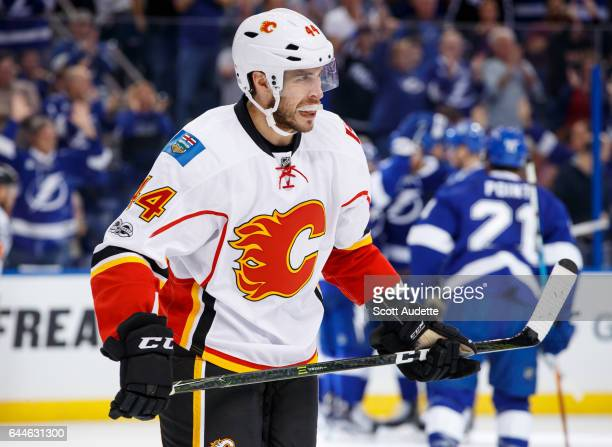 The Tampa Bay Lightning celebrate a goal against Matt Bartkowski and the Calgary Flames during the first period at Amalie Arena on February 23 2017...