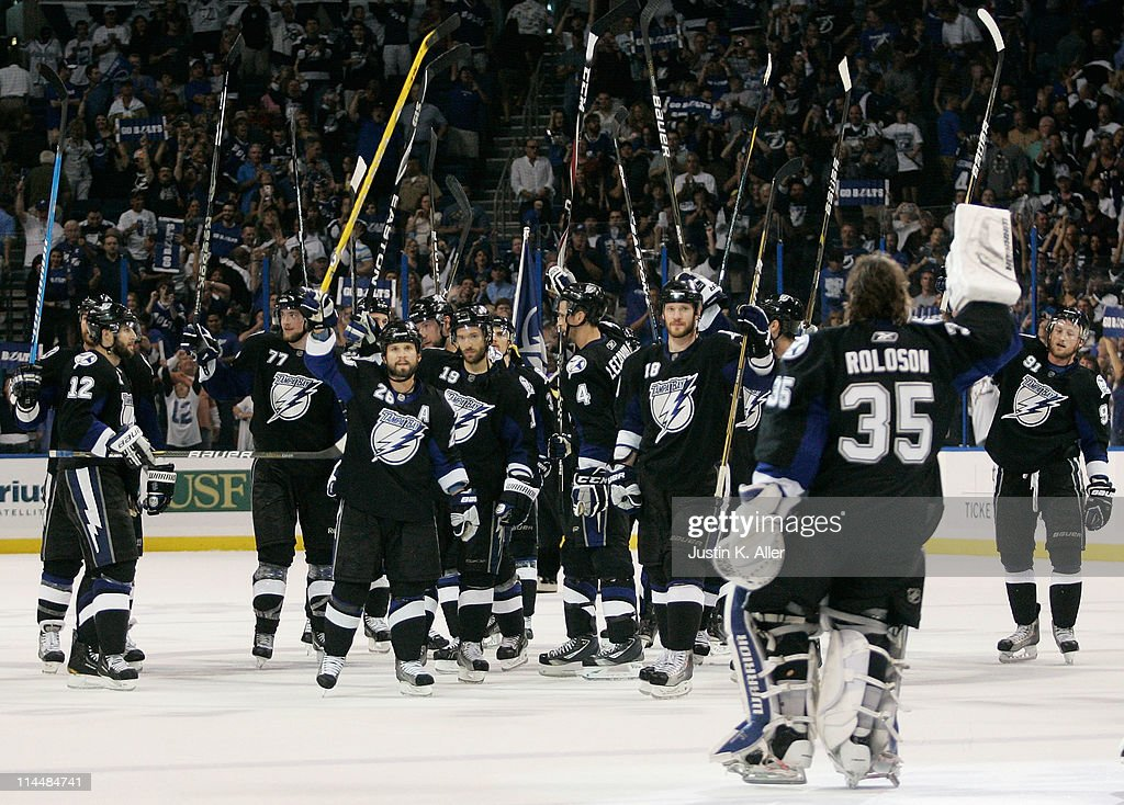 The Tampa Bay Lightning celebrate after defeating the Boston Bruins 5 to 3 in Game Four of the Eastern Conference Finals during the 2011 NHL Stanley Cup Playoffs at St Pete Times Forum on May 21, 2011 in Tampa, Florida.