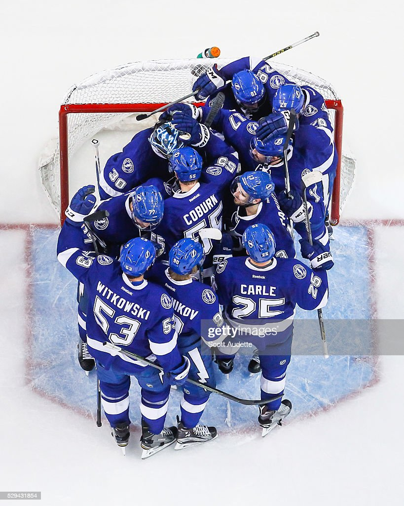 The Tampa Bay Lightning celebrate the series win against the New York Islanders after Game Five of the Eastern Conference Second Round in the 2016 NHL Stanley Cup Playoffs at the Amalie Arena on May 8, 2016 in Tampa, Florida.