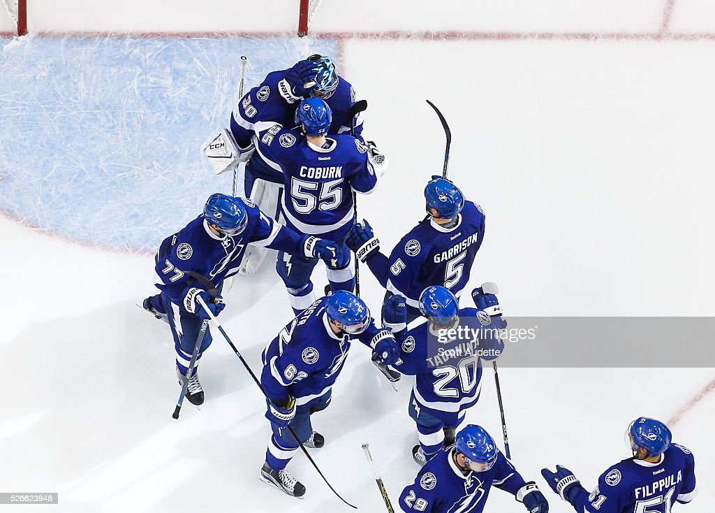 The Tampa Bay Lightning celebrate the win against the New York Islanders after Game Two of the Eastern Conference Second Round in the 2016 NHL Stanley Cup Playoffs at the Amalie Arena on April 30, 2016 in Tampa, Florida.