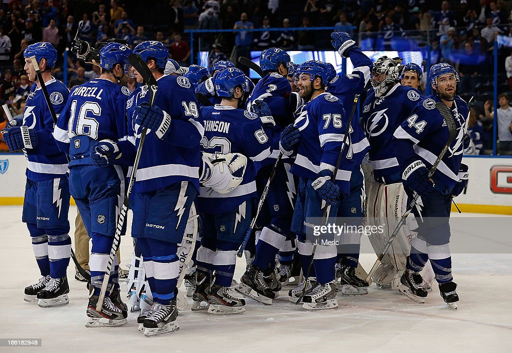The Tampa Bay Lightning celebrate their 3-2 victory over the Ottawa Senators at the Tampa Bay Times Forum on April 9, 2013 in Tampa, Florida.
