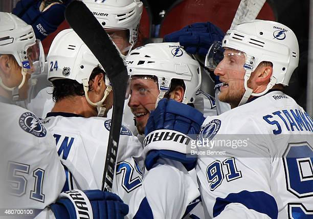 The Tampa Bay Lightning congratulate Nikita Kucherov on his game tying goal at 1919 of the third period against the New Jersey Devils at the...