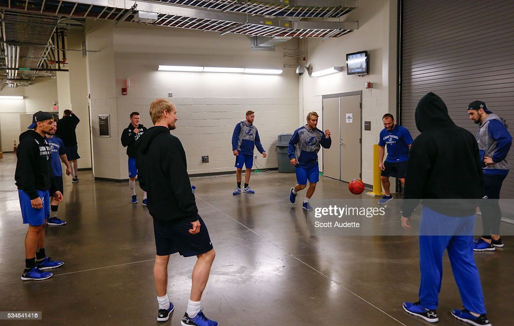 The Tampa Bay Lightning play soccer before the game against the Pittsburgh Penguins and Game Seven of the Eastern Conference Finals in the 2016 NHL Stanley Cup Playoffs at the Amalie Arena on May 26, 2016 in Tampa, Florida.