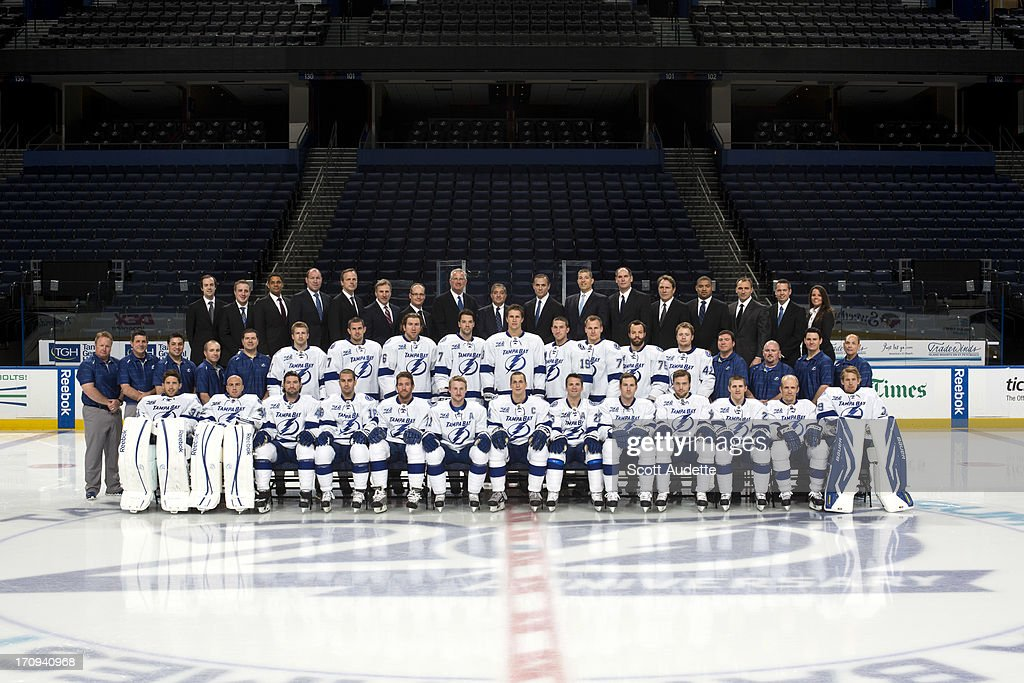 The Tampa Bay Lightning pose for the official 2012-13 team photograph at the Tampa Bay Times Forum on April 23, 2013 in Tampa, Florida.