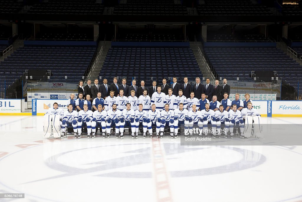 The Tampa Bay Lightning pose for their annual team photo at the Amalie Arena on April 30, 2016 in Tampa, Florida.