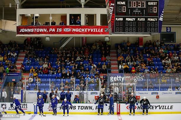 The Tampa Bay Lightning practice for the NHL Kraft Hockeyville USA preseason game against the Pittsburgh Penguins on September 29 2015 at the Cambria...
