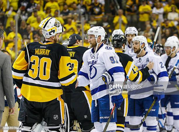 The Tampa Bay Lightning shakes hands against the Pittsburgh Penguins after Game Seven of the Eastern Conference Finals in the 2016 NHL Stanley Cup...