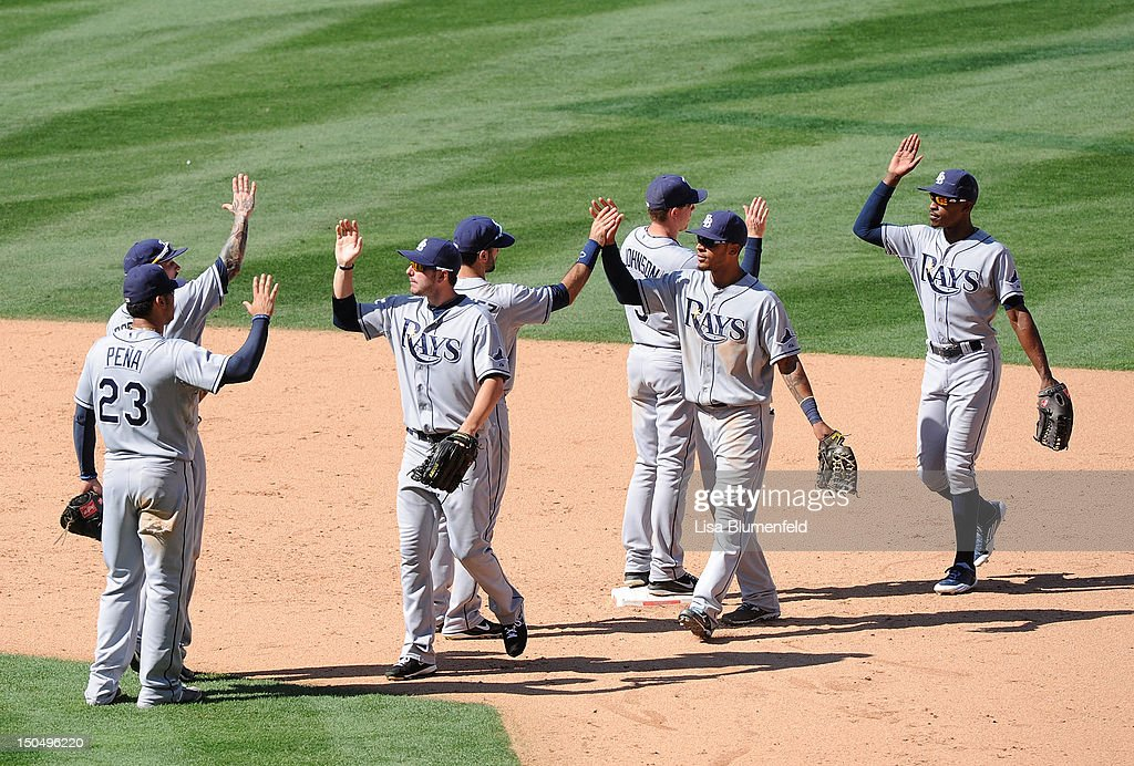 The Tampa Bay Rays celebrate defeating the Los Angeles Angels of Anaheim 8-3 at Angel Stadium of Anaheim on August 19, 2012 in Anaheim, California.