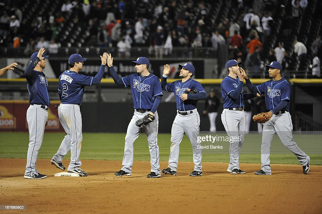 The Tampa Bay Rays celebrate their win against the Chicago White Sox on April 27, 2013 at U.S. Cellular Field in Chicago, Illinois. The Tampa Bay Rays defeated the Chicago White Sox 10-4.