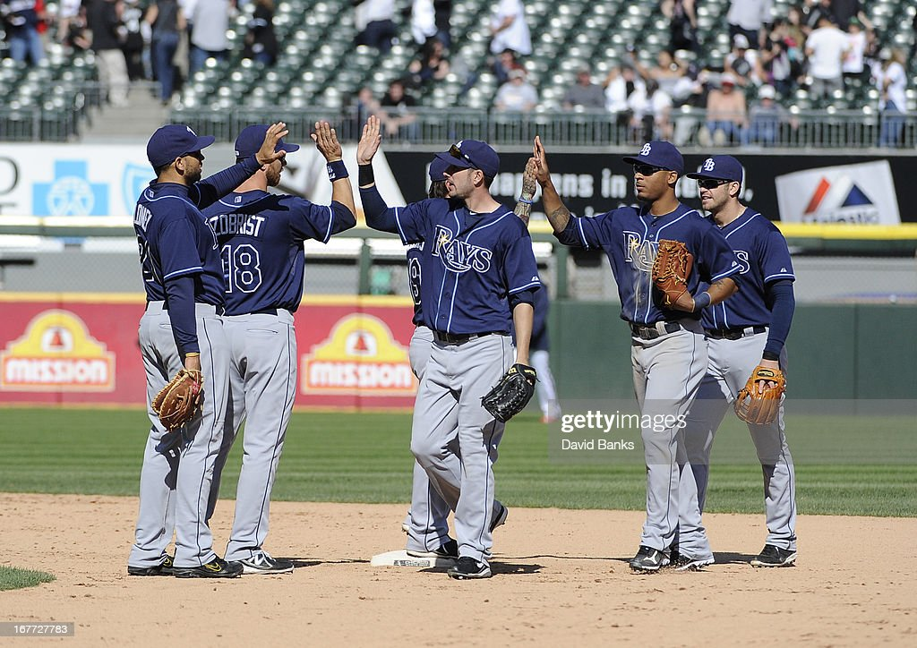 The Tampa Bay Rays celebrate their win against the Chicago White Sox on April 28, 2013 at U.S. Cellular Field in Chicago, Illinois. TheTampa Bay Rays defeated the Chicago White Sox 8-3.