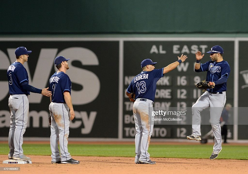 The Tampa Bay Rays slap high fives after defeating the Boston Red Sox at Fenway Park on May 4, 2015 in Boston, Massachusetts.