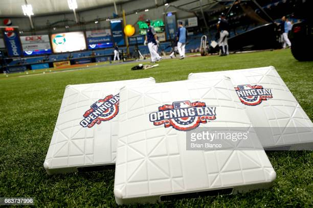 The Tampa Bay Rays take batting practice behind Opening Day bases before the start of a game against the New York Yankees on April 2 2017 at...