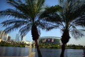 The Tampa Bay Times Forum is seen between two palm trees where the Republican National Convention will be held on August 24 2012 in Tampa Florida The...