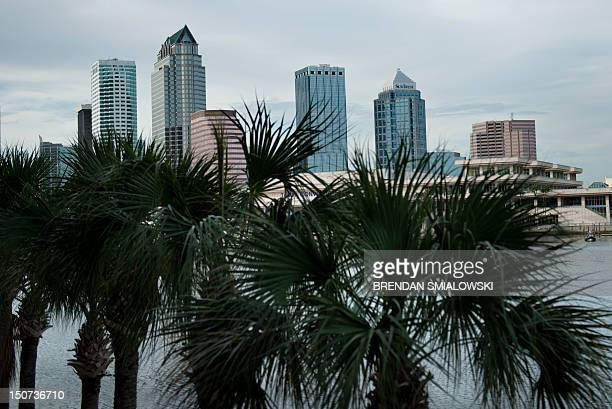 The Tampa skyline is seen on August 25 2012 in Tampa Florida Workers continue to prepare for next week's Republican National Convention where Mitt...