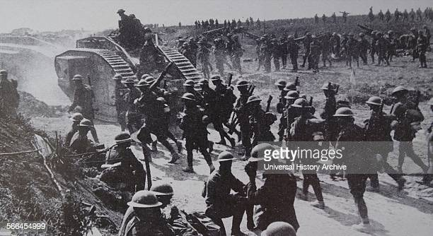 The tank a British invention was first used in the 191418 war in 1916 to end the deadlock of trench warfare These Mark V tanks together with infantry...
