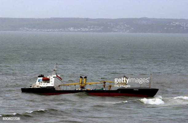 The tanker Kodima which was carrying wood is stranded off Whitsand Bay Cornwall carrying 450 tonnes of fuel oil 55 tonnes of marine diesel and ten...