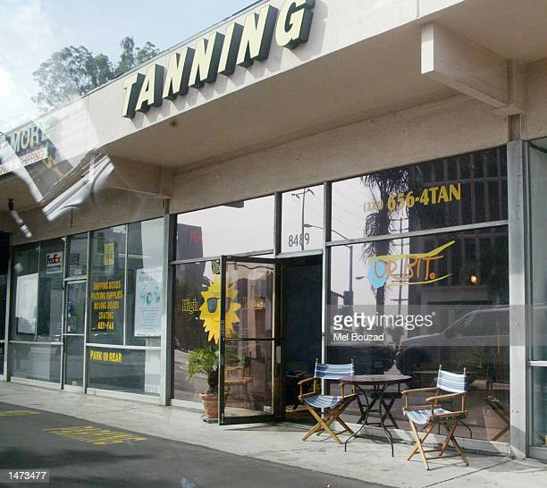 The tanning salon where singer Britney Spears visited is seen on October 13 2002 in West Hollywood California