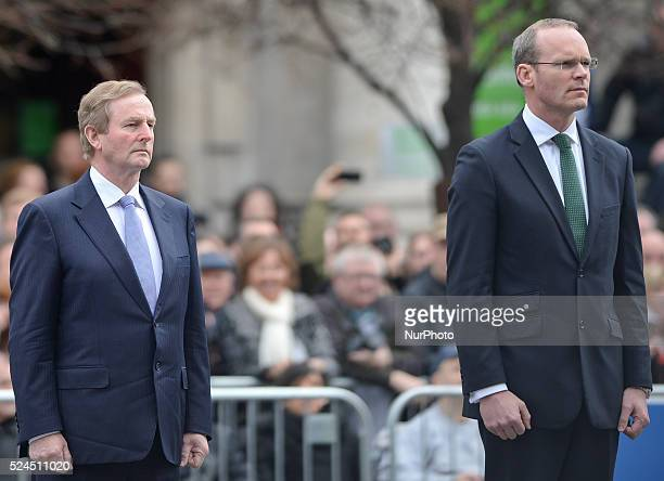 The Taoiseach Enda Kenny and the Minister for Defence Simon Coveney during a ceremony to mark the 99th Anniversary of the 1916 Rising at GPO Dublin...