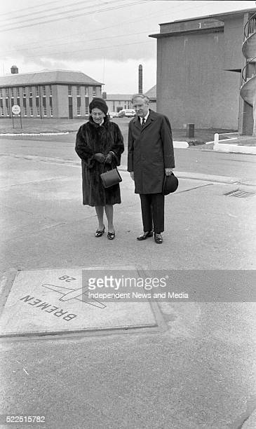 The Taoiseach Mr Liam Cosgrave and Frau GlaeserKoehl widow of Capt Köhl beside the marble tablet which marks the spot at Casement Aerodrome from...