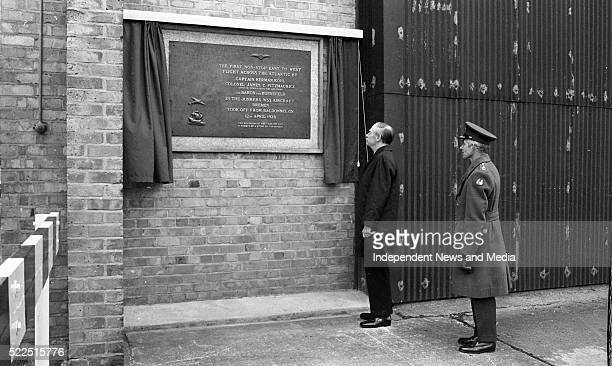 The Taoiseach Mr Liam Cosgrave at Casement Aerodrome unveiling a plaque to commemorate the flight of the Bremen on April 12th 1928 On the right is...