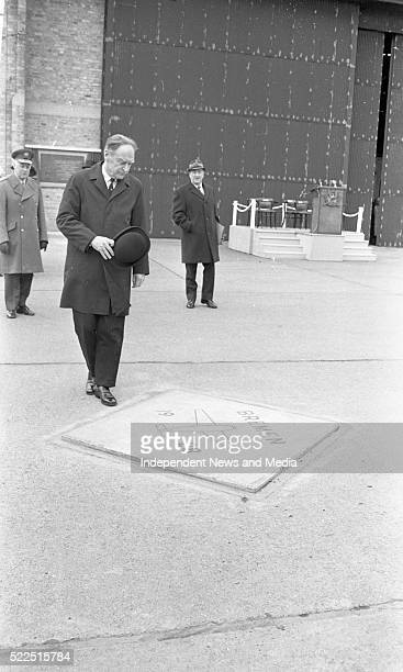 The Taoiseach Mr Liam Cosgrave beside the marble tablet which marks the spot at Casement Aerodrome from which the Bremen started its takeoff on 12th...