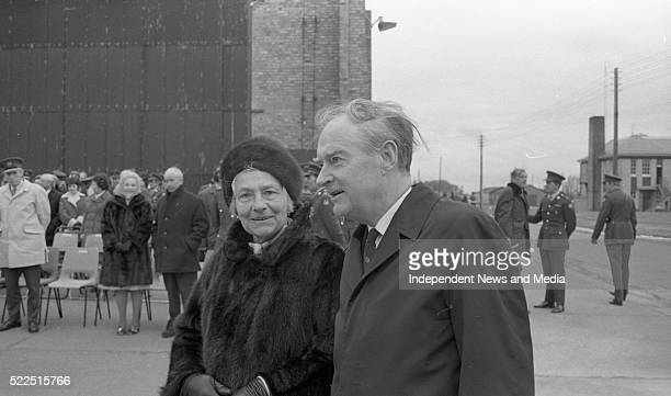 The Taoiseach Mr Liam Cosgrave with Frau GlaeserKoehl widow of Capt Köhl at Casement Aerodrome after unveiling a plaque to commemorate the flight of...