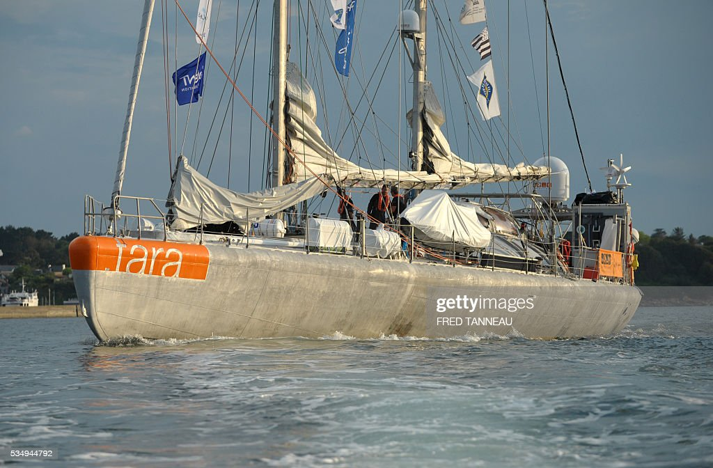 The Tara scientific boat leaves on May 28, 2016 the harbour of Lorient, western of France, to start a new expedition in the Pacific Ocean. French Tara boat navigates across all the world's major oceans to sample and investigate microorganisms in the largest ecosystem on the planet. / AFP / FRED