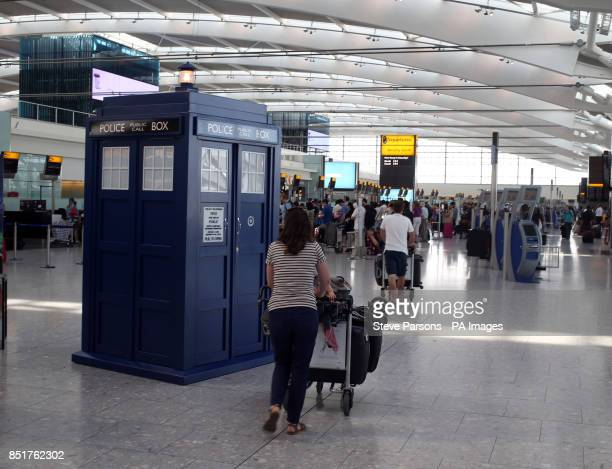 The TARDIS at Terminal 5 of Heathrow Airport in London as part of a summer promotion with Doctor Who and BBC Worldwide