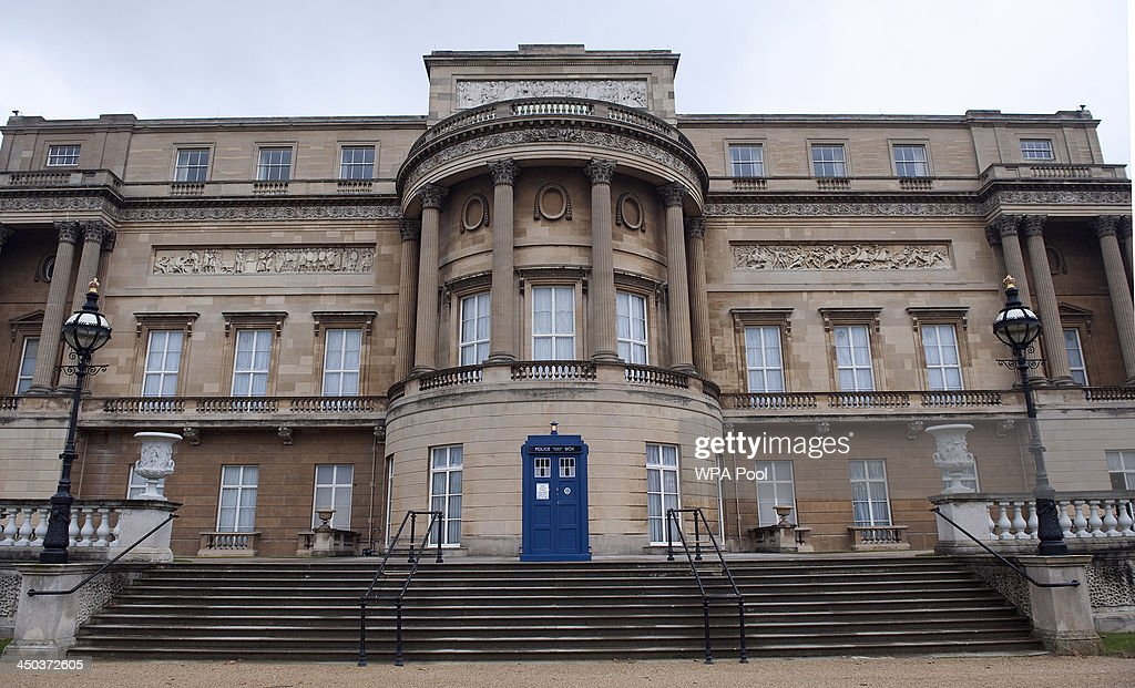 The Tardis is seen in the grounds of Buckingham Palace during a reception to mark the 50th anniversary of the hit TV series at Buckingham Palace as british actor Peter Davison, the fifth incarnation of the Doctor role looks on, onNovember 18, 2013 in London, England. Sophie, Countess of Wessex hosted a reception to mark the 50th anniversary of the TV series in which there have been 11 Doctors to date. It now holds the Guinness World Record for the longest running science fiction series in the world.