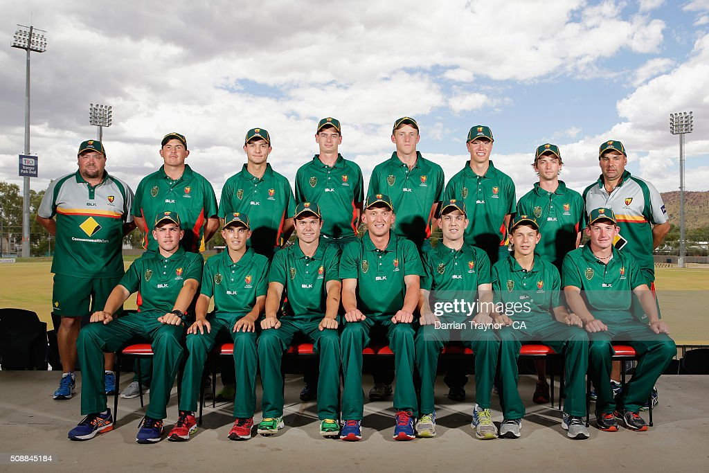 The Tasmanian team pose for a photo on media day during the National Indigenous Cricket Championships on February 7, 2016 in Alice Springs, Australia.