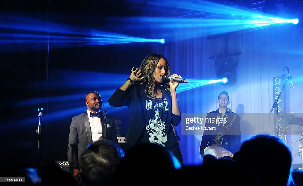 The Taste of the NFL All-Star Band performs at the 23rd Annual Super Bowl Party With A Purpose at Brooklyn Cruise Terminal on February 1, 2014 in New York City.