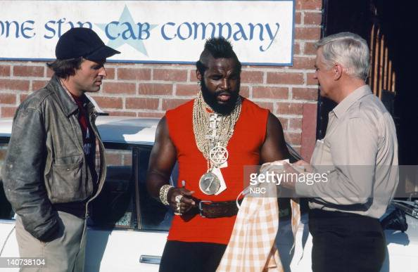 TEAM 'The Taxicab Wars' Episode 7 Pictured Dwight Schultz as 'Howling Mad' Murdock Mr T as BA Baracus George Peppard as John 'Hannibal' Smith Photo...