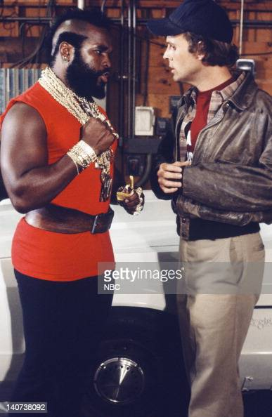 TEAM 'The Taxicab Wars' Episode 7 Pictured Mr T as BA Baracus Dwight Schultz as 'Howling Mad' Murdock