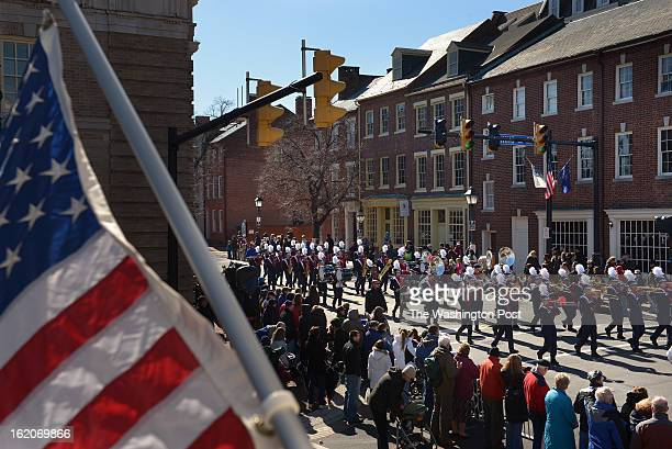 The TC Williams High School marching band performs during the George Washington Birthday Parade on Monday February 18 2013 in Alexandria VA Scores of...