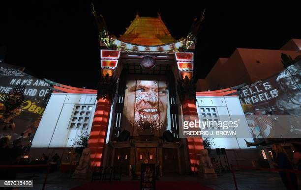 The TCL Chinese Theater marks its 90th anniversary celebration with an outdoor 3D projection display of movie classics in Hollywood California on May...