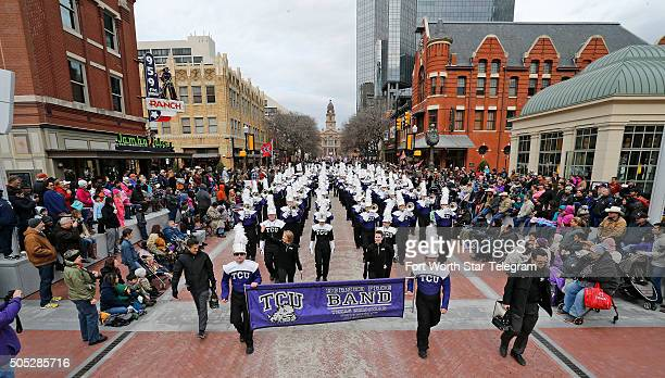 The TCU Horned Frog marching band on Main Street in Sundance Square in Fort Worth Texas on Saturday Jan 16 during the Fort Worth Stock Show All...