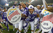 The TCU Horned Frogs celebrate a 4741 win against Oregon in triple overtime in the Valero Alamo Bowl at the Alamodome in San Antonio on Saturday Jan...