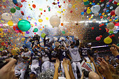 The TCU Horned Frogs celebrate after winning the Valero Alamo Bowl in three overtimes against the Oregon Ducks at Alamodome on January 2 2016 in San...