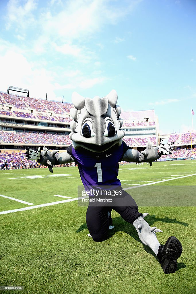 The TCU Horned Frogs mascot at Amon G. Carter Stadium on September 7, 2013 in Fort Worth, Texas.
