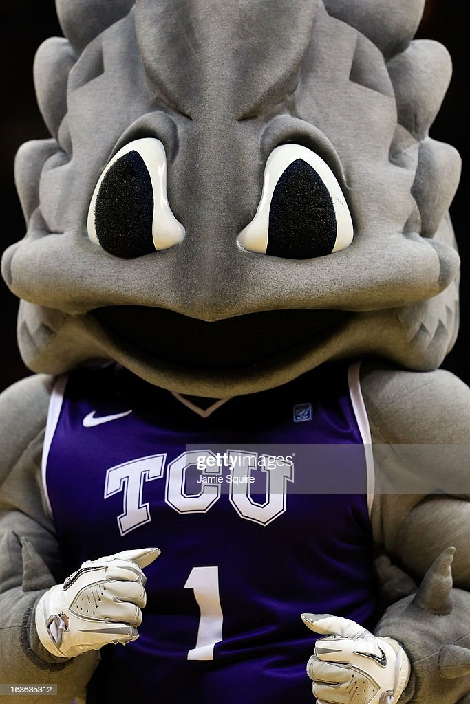 The TCU Horned Frogs mascot walks onto the court during a timeout in the first round of the 2013 Big 12 Men's Basketball Championship at Sprint Center on March 13, 2013 in Kansas City, Missouri.