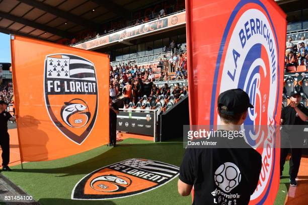 The team banners are prepared before the Ligue 2 match between FC Lorient and Chateauroux at Stade du Moustoir on August 14 2017 in Lorient