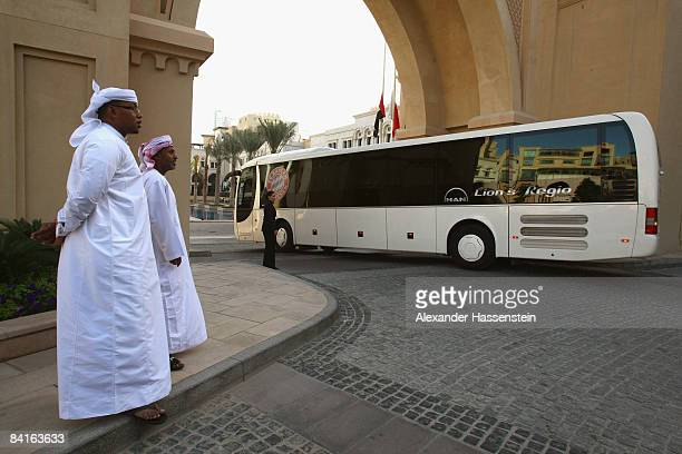 The team bus is seen at the team squad 'The Palace Hotel The Old Town' on January 3 2009 in Dubai United Arab Emirates